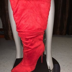 Red suede high boots